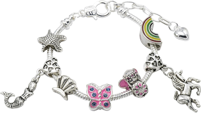 Parfait pour anniversaire avec coffret cadeau Bijou pour filles Bracelet /à breloques /«/Ride With Unicorns and Swim With Mermaids /» pour enfant