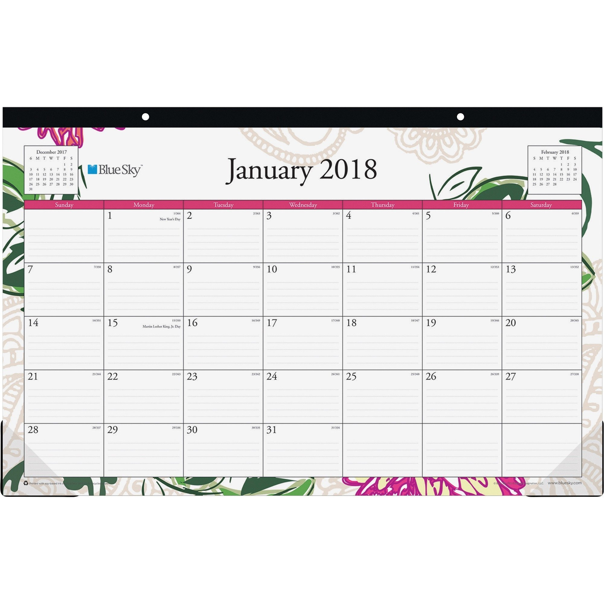 Blue Sky 2018 Monthly Desk Pad Calendar, 17'' x 11'', Dahlia
