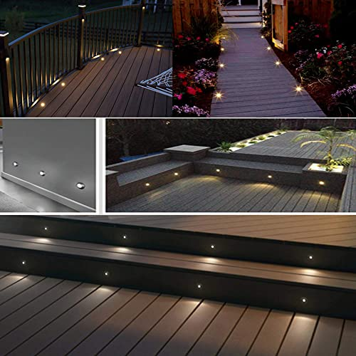 CNBRIGHTER LED Deck Light,1W 12V DC,Small Outdoor Step Stairs Lighting,Waterproof Stainless Steel Aluminum,Recessed Decoration Lamp,Floor Footlights to Accent Landscape Garden Yard Patio,Warm White