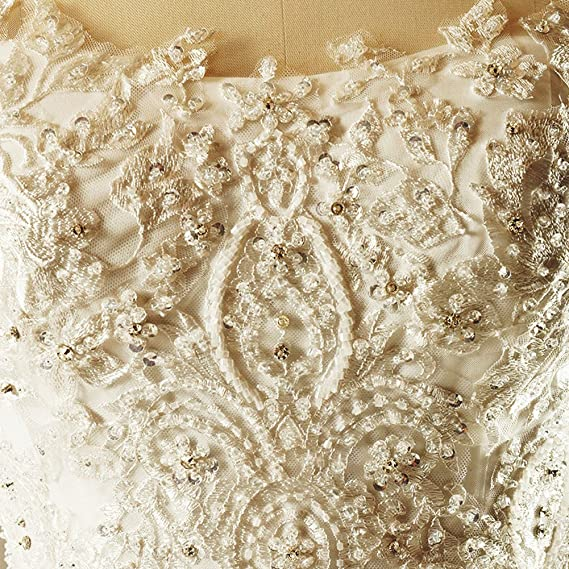 16W, White Loyatee Wedding Dresses A-Line Lace Appliques Beaded Half Sleeves White Bridal Gown