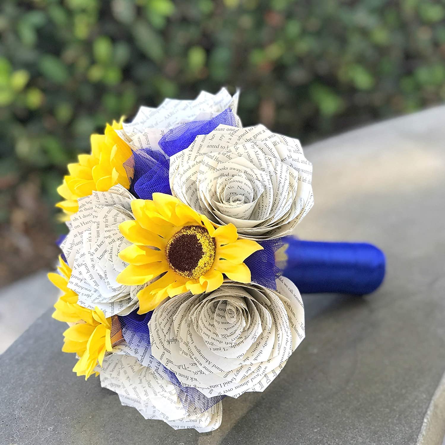 Amazoncom Sunflowers And Book Page Roses Wedding Bouquet Handmade