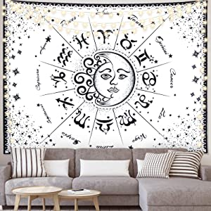 FLY SPRAY Tarot Tapestry Wall Hanging,Sun and Moon Tapestry 12 Constellation Psychedelic Black and White Mystic Tapestry,Mural for Bedroom Living Room Dorm Home Decor