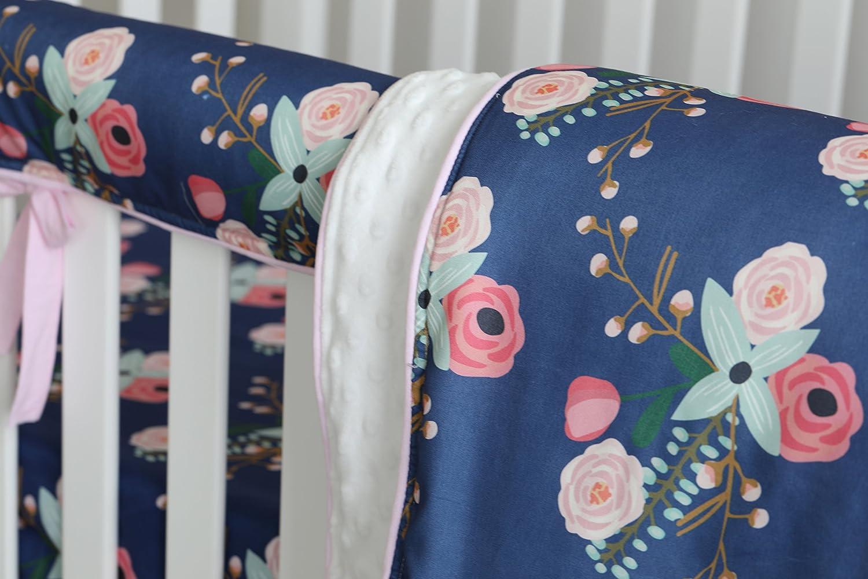 Aqua Peach Floral Nursery Crib Skirt Set Baby Girl Crib Bedding Boho Chic Coral Floral Ruffle Baby Minky Blanket Watercolor