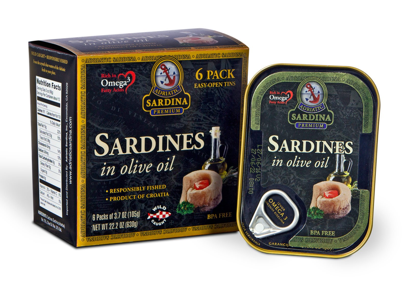 Adriatic Sardina Wild Caught Sardines in Extra Virgin Olive Oil, 3.7 oz Tin (Pack of 6)