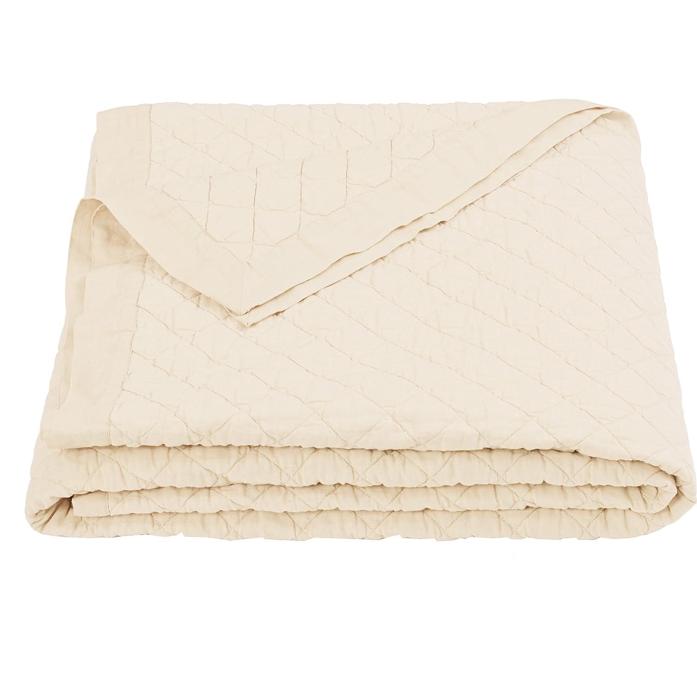 Cream Full Queen HiEnd Accents Diamond Pattern Linen Quilt, King Vintage White