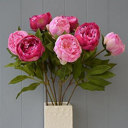 Amazon eight stems of artificial silk pink peonies home kitchen eight stems of artificial silk pink peonies mightylinksfo