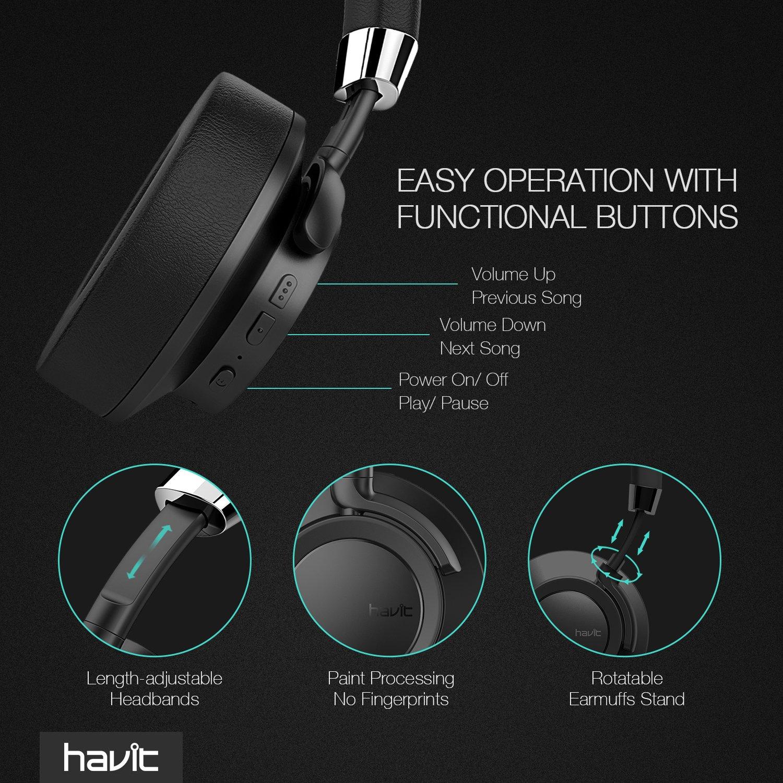 Auriculares intrauditivos Bluetooth 4.1 [Alámbrico e inalámbrico] HAVIT Auriculares estéreo recargables sin ruido, 22 horas de reproducción con micrófono ...