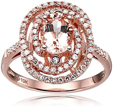 907cd428f5348 10k Rose Gold Morganite and Diamond Double Swirl Halo Oval Engagement Ring  (1/3cttw, HI Color, I1-I2 Clarity), Size 7