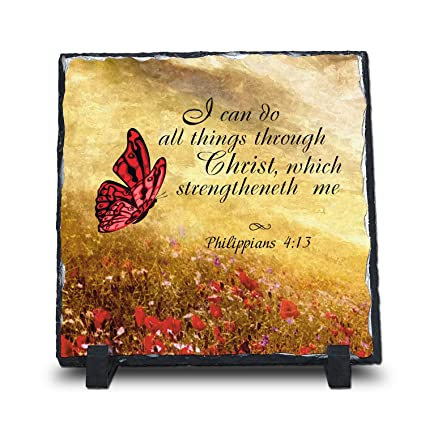 InspiraGifts I Can Do All Things Through Christ Philippians 4:13 (Square 7.5X7