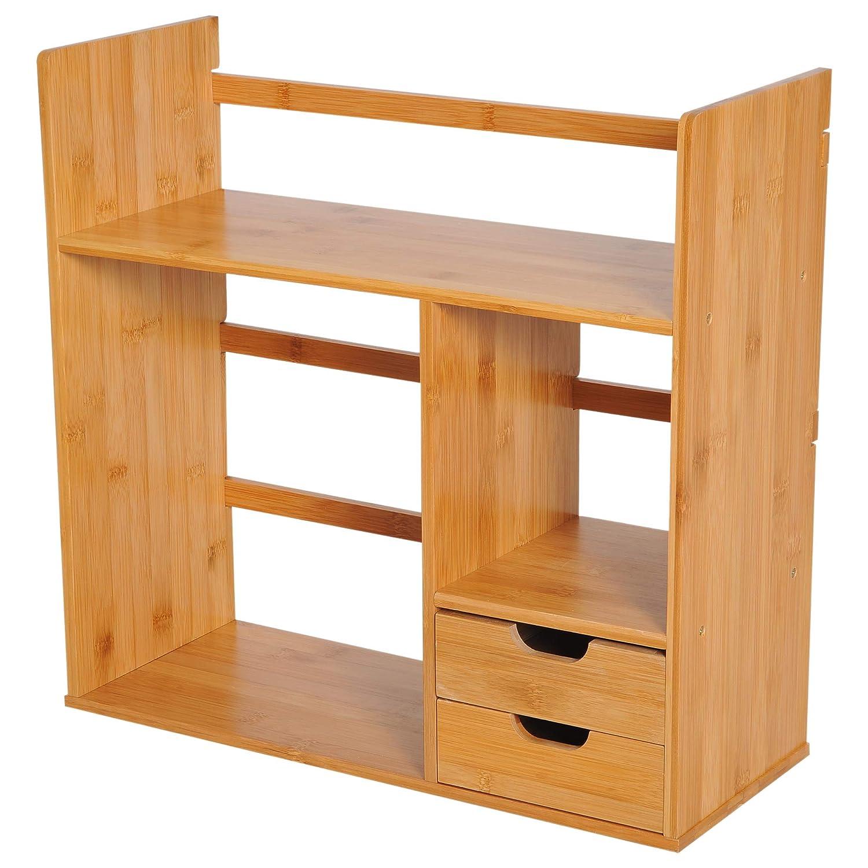Homcom Organisateur de Bureau Organiseur multimé dia Multi-rangements 2 tiroirs 3 é tagè res 48L x 20l x 46H cm Bois Bambou
