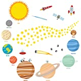 Educational Solar System Wall Decals – Fun Planets in Space Wall Stickers – Space Exploration by treepenguin