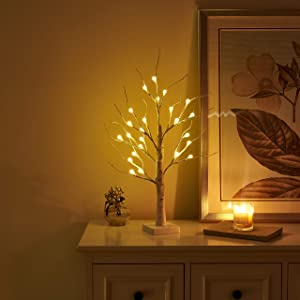 Vanthylit Pre-lit 2FT 24LED Birch Table Tree Lights with Timer LED Bonsai Tree Centerpiece Decoration Table Lamp for Home Wedding Holiday