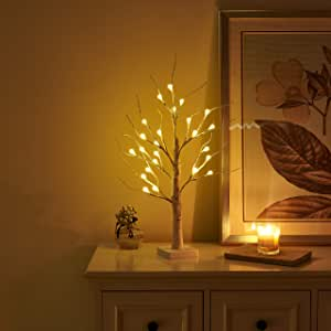 Amazon Com Vanthylit Pre Lit 2ft 24led Birch Table Tree Lights With Timer Led Bonsai Tree Centerpiece Decoration Table Lamp For Home Wedding Holiday Home Kitchen