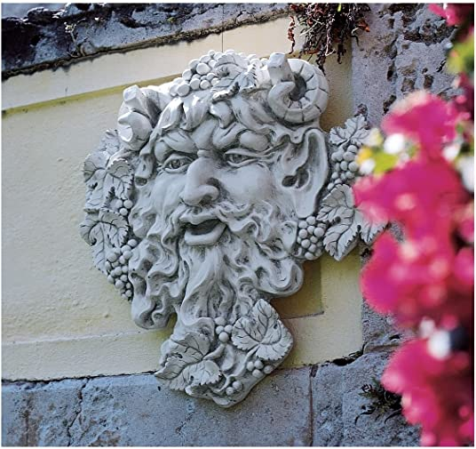 XoticBrands 19″ Antiqued Wine God Greenman Home Garden Wall Sculpture Statue