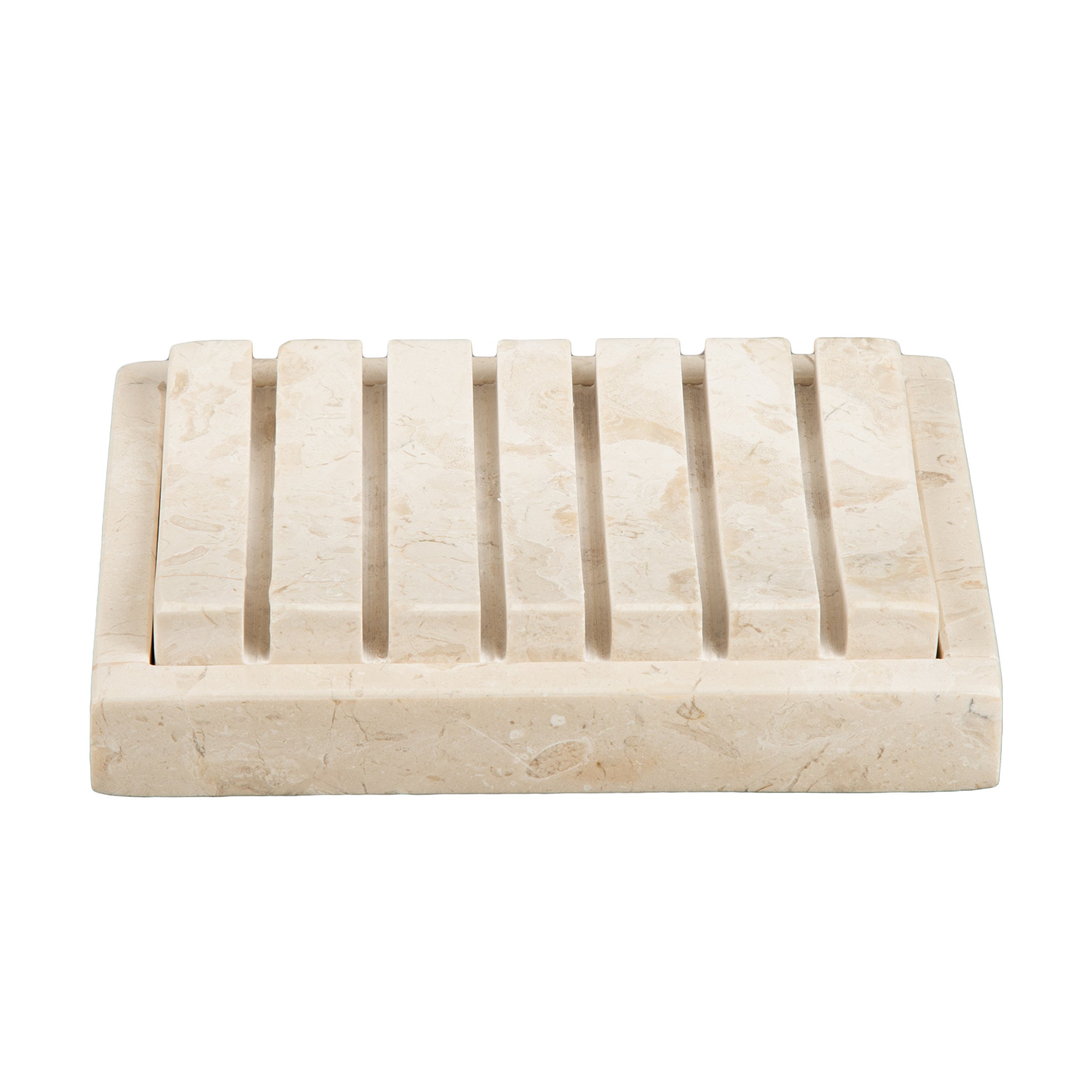 Creative Home Natural Champagne Marble Stone SPA Collection 2 Piece Bar Soap Dish, Soap Tray