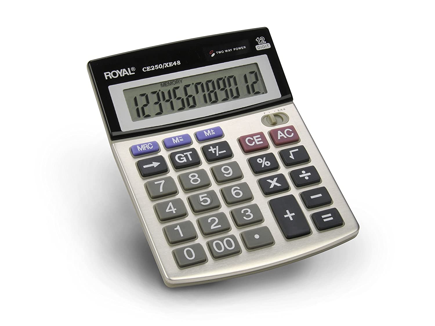 Royal CE250/XE48 Calculadora de Escritorio, Pantalla Inclinada de 12 Dígitos