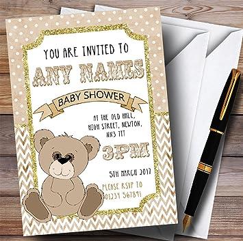 Oso de peluche con purpurina dorado invitaciones Baby Shower invitaciones: Amazon.es: Oficina y papelería