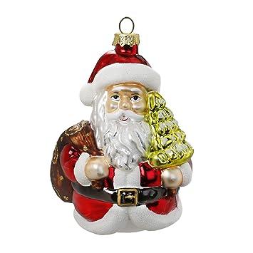Christbaumschmuck Weihnachtsmann Mit Weihnachtsbaum 11cm Glas