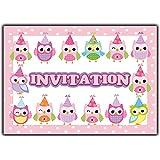 carte d'anniversaire en francais Lot 10 cartes fille enfant animaux chouette-s oiseau invitation premier hibou girly
