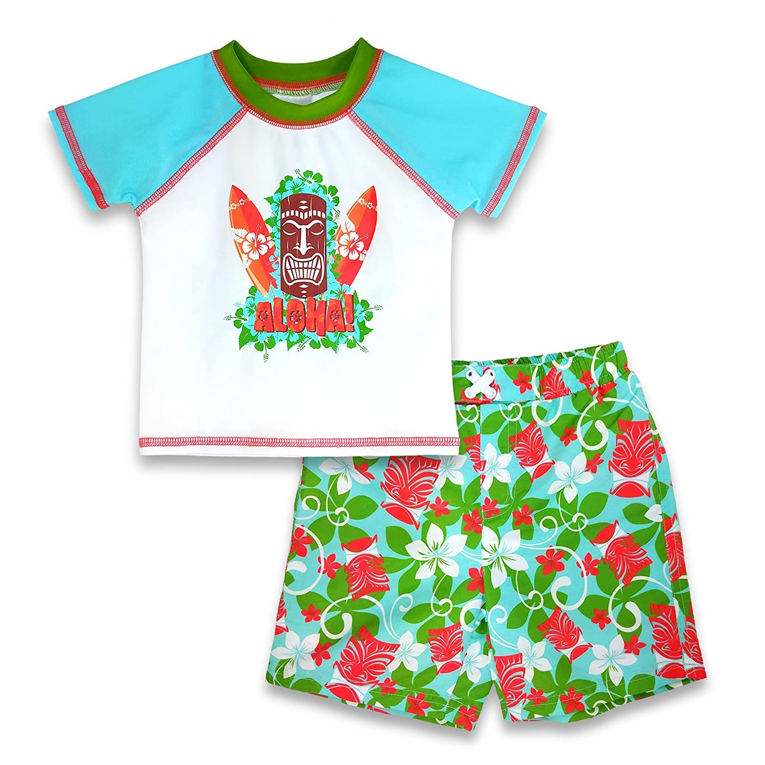 Sol Swim Little Boys Multi Color Two-Piece Aloha Tiki Rash-Guard Swim Set BS5/358-MLI/TI-4