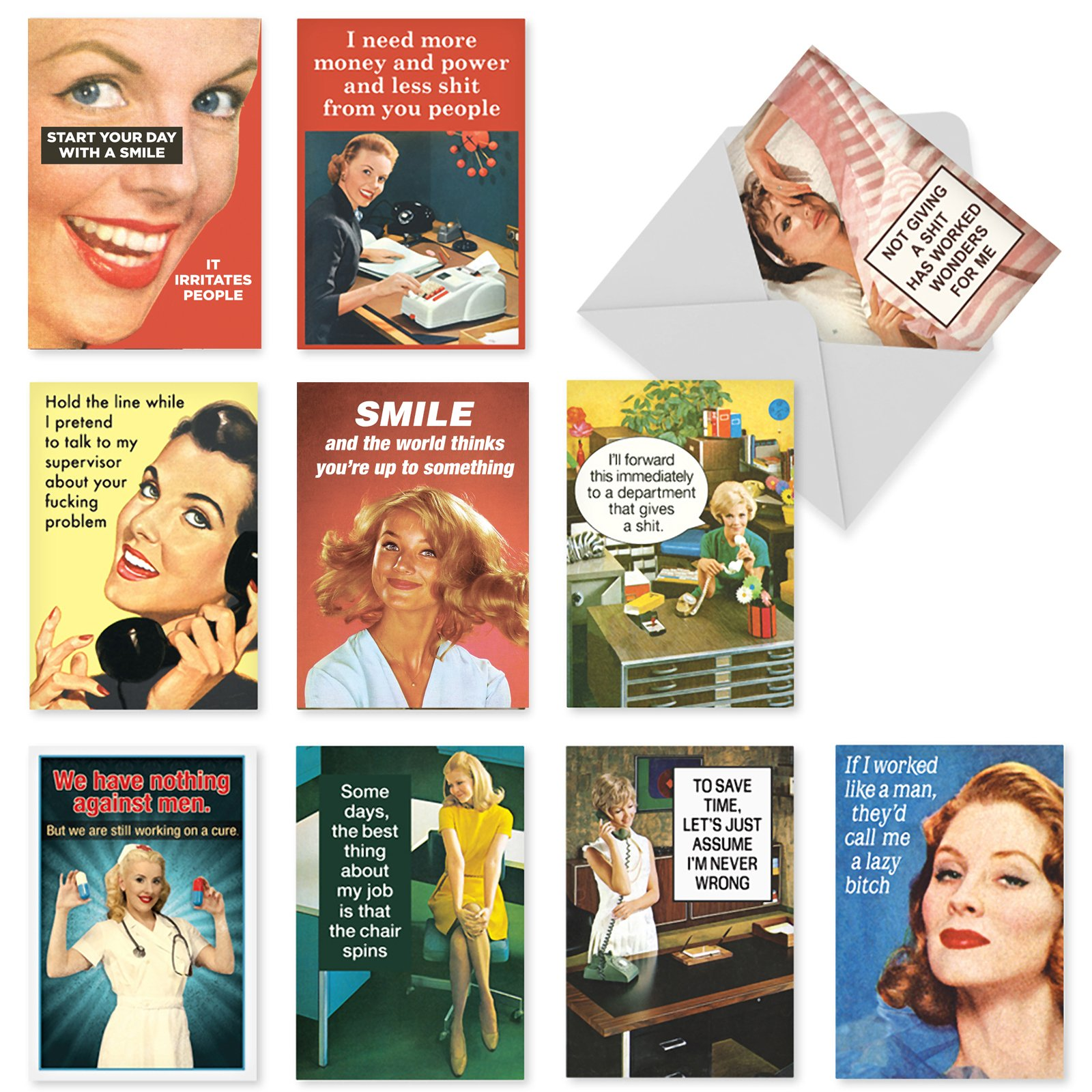 """10 'Office Beauties Birthday Assortment' Cards (with Envelopes), Funny Greeting Cards, Birthday Cards for Friends, Family, Women, Vintage Stationery Note Cards (Mini 4"""" x 5 ¼"""") #A1244"""