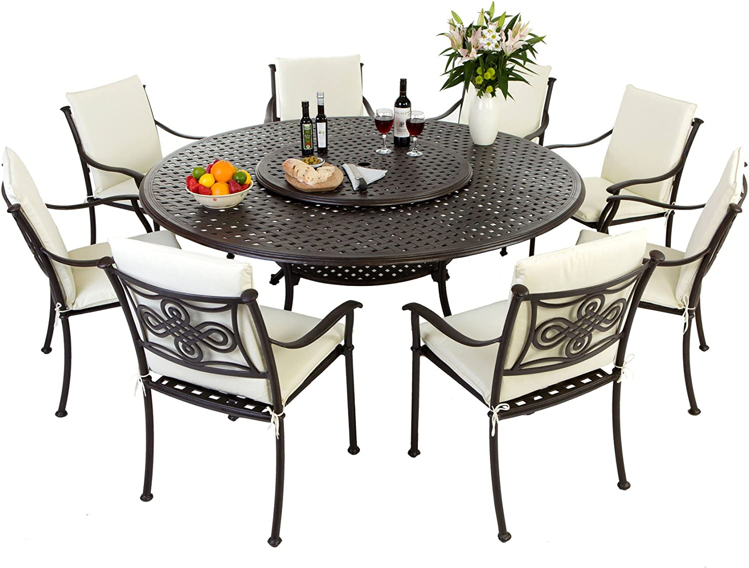 Round 7 Seater  Metal Patio Furniture Set  Rust Proof - Cape