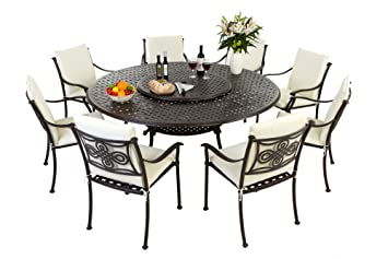 Groovy Round 8 Seater Metal Patio Furniture Set Rust Proof Home Interior And Landscaping Ponolsignezvosmurscom