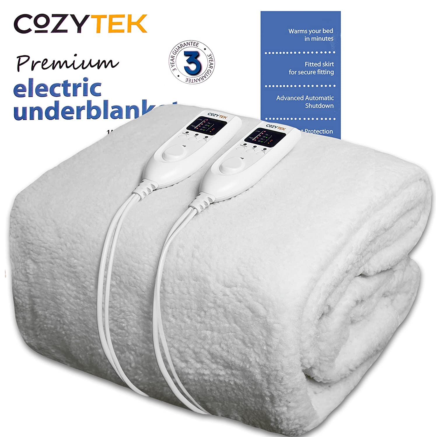Cozytek Double Electric Blanket Premium Polar Fleece, Double Bed 193 x 137cm, Electric Heated Blanket, Soft Fitted Underblanket with LED Controller, 5 Comfort settings, Timer Functionality and Machine Washable