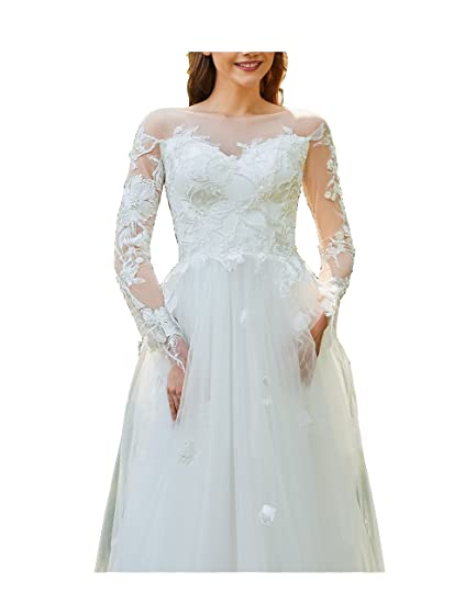 WXY 2018 New Womens White/Ivory See-Through Full Sleeves Lace A-Line Wedding Dress Vestidos de novia at Amazon Womens Clothing store:
