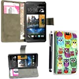GSDSTYLEYOURMOBILE {TM} HTC DESIRE 310 PRINTED PU LEATHER MAGNETIC FLIP CASE SKIN COVER POUCH + STYLUS