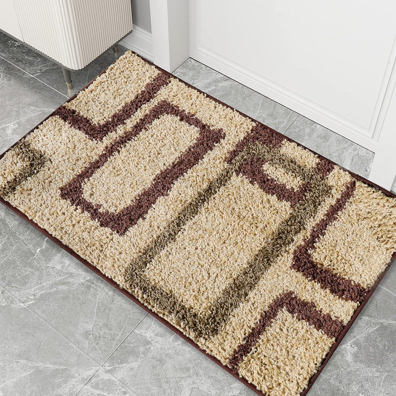 """AIRCOWRIE Indoor Doormat Front Door Mat, Ultra Water Absorbent Non-Slip Low Profile Resist Dirt Entryway Rug Inside Floor Mat, Welcome Mats for Home Entrance, Garage, Patio (Camel, 24""""×35"""")"""