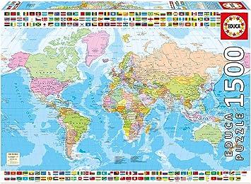 Educa Borrás-1500 Mapamundi Político, Puzzle, Multicolor, Talla ...