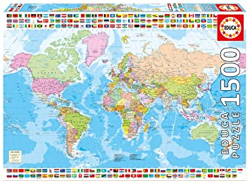 Map Of Uk 1500.Educa 17117 0 1500 Political World Map Puzzle Amazon Co Uk