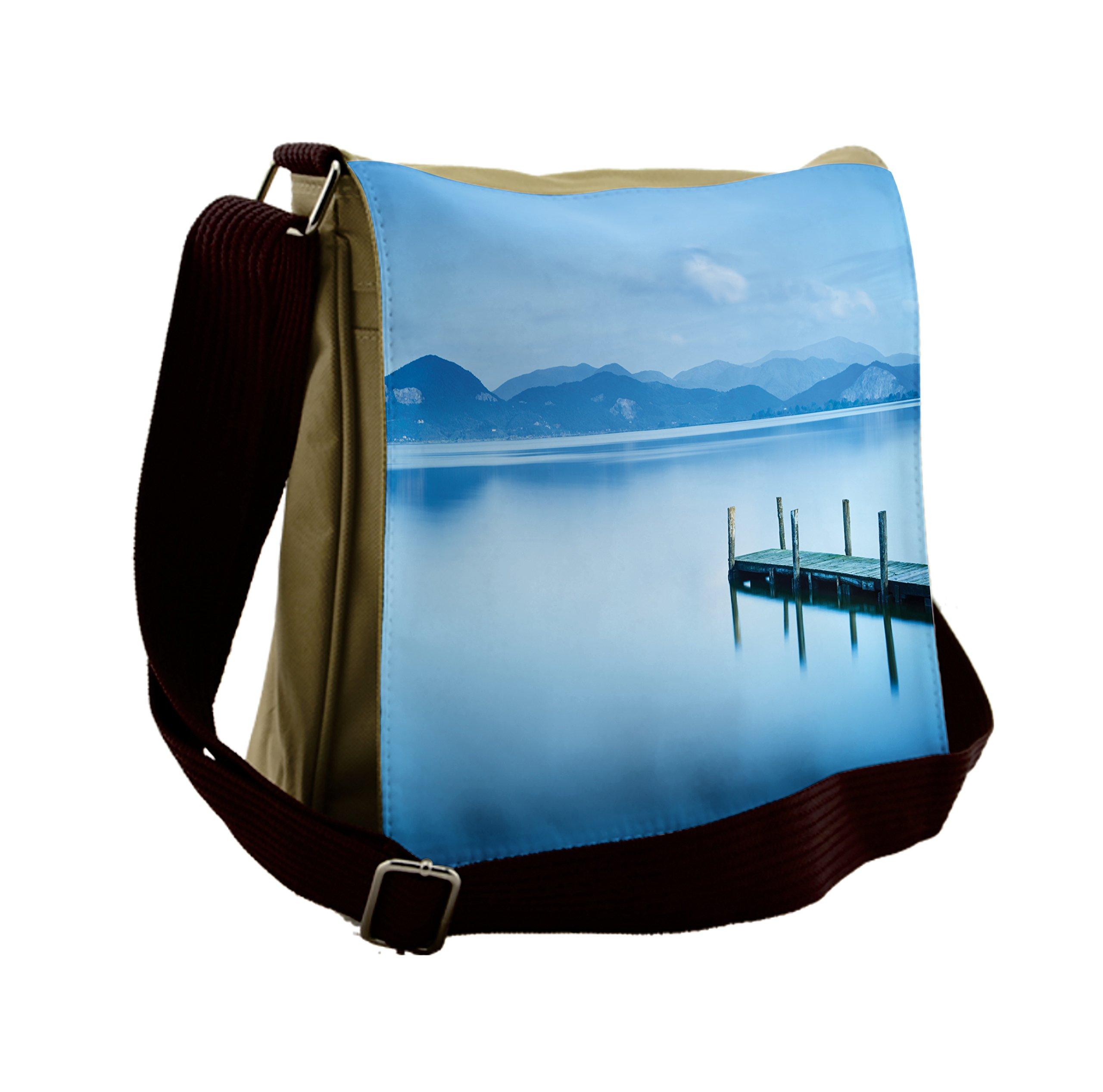 Lunarable Summer Messenger Bag, Wood Pier Lake Serene Water, Unisex Cross-body