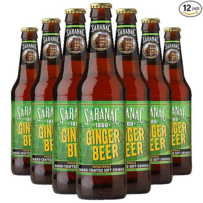 Saranac World Famous Hand-Crafted Ginger Beer Soda Soft Drink, 12 fl oz (12 Glass Bottles)