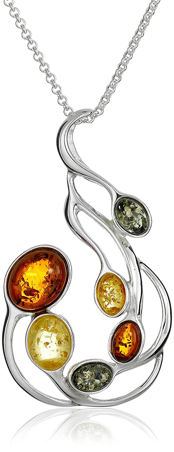 Sterling Silver Multicolored Amber Large Pendant Necklace, 18