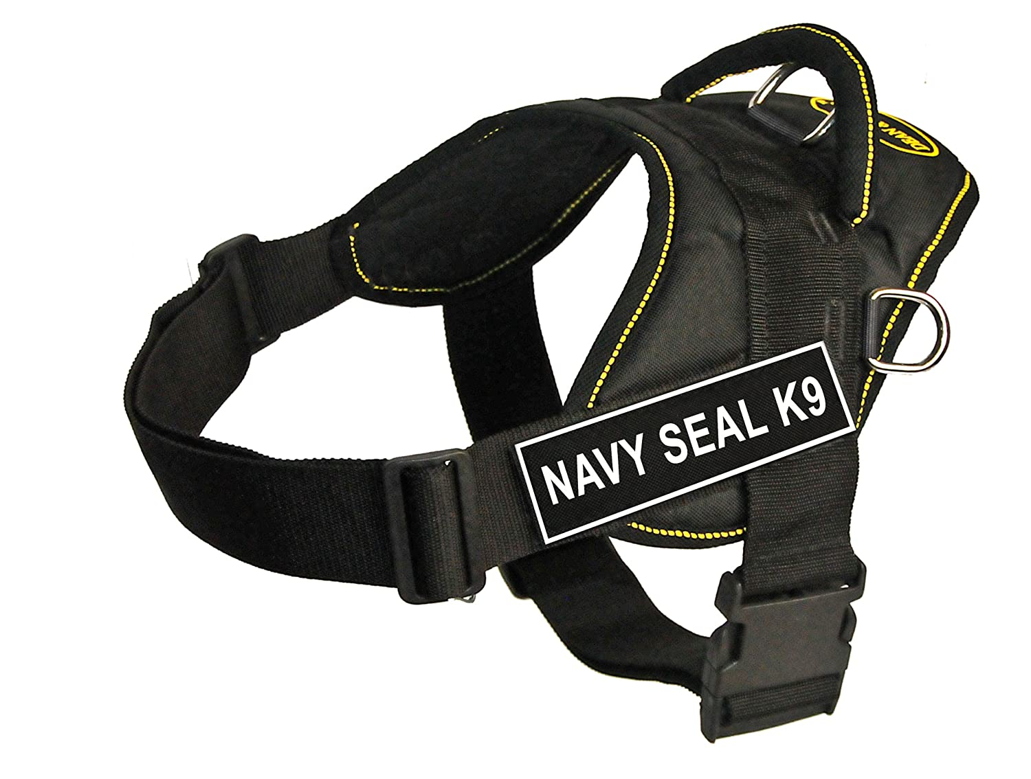 Dean & Tyler Fun Works 22-Inch to 27-Inch Pet Harness, Small, Navy Seal K9, Black with Yellow Trim
