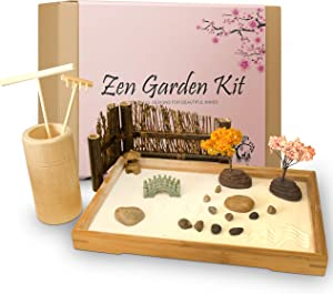 Japanese Zen Garden Kit for Desk - 11x7.5 Inches Large - Accessories include Bamboo Tray, White Sand, River Rocks, Pebbles, Rake Tools Set - Office Table Mini Zen Sand Garden Kit - Meditation Gifts