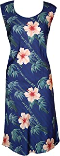 product image for Paradise Found Womens Bamboo Hibiscus Short Tank Dress Navy Blue S