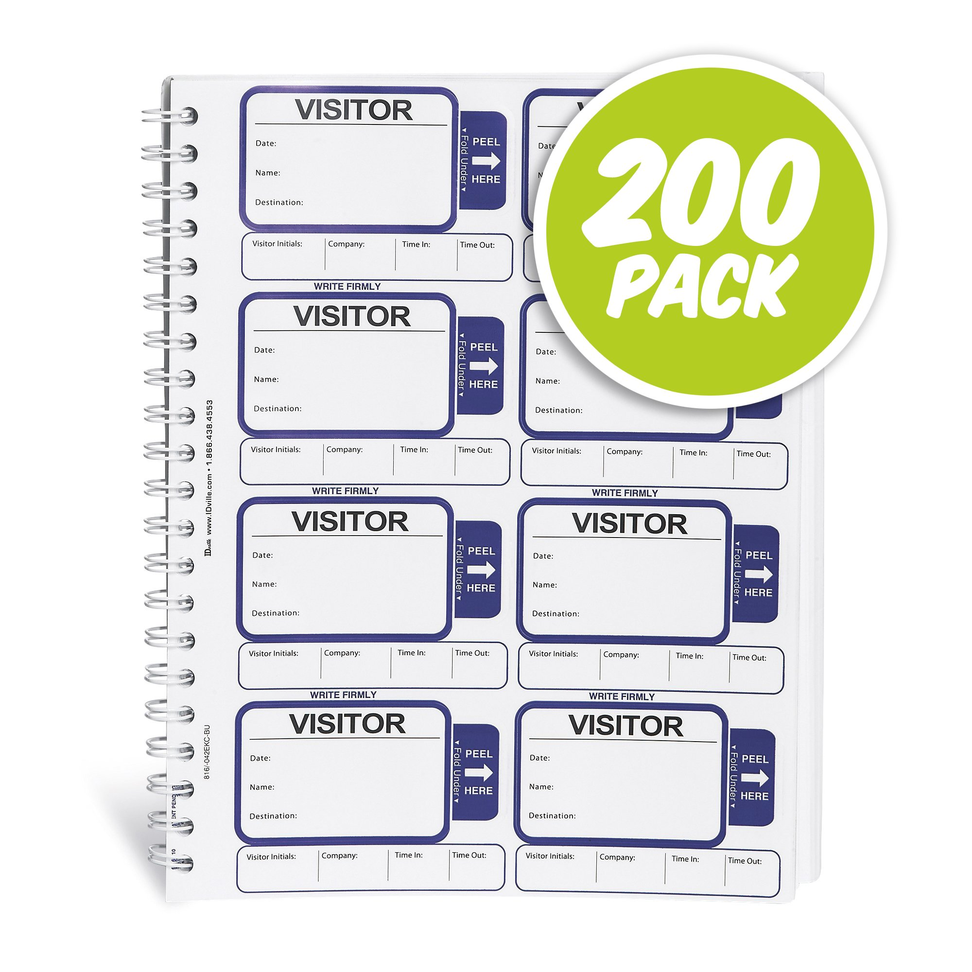 ID Card Pros Visitor Log Book - Spiral-Bound Self Expiring Visitor Badges - Carbon Copy - 200 Badges