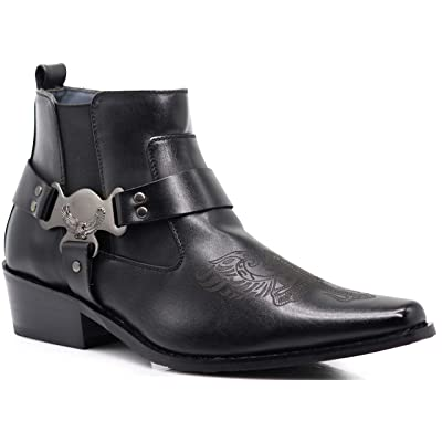 Enzo Romeo WT10 Men's Western Cowboy Motorcycle Ankle Boots | Western