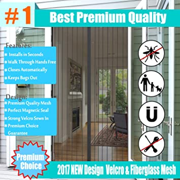 gofutre imanes Protector de puerta, 2017 diseño Full Frame Velcro y malla de fibra de vidrio para aperturas de puerta de hasta 34