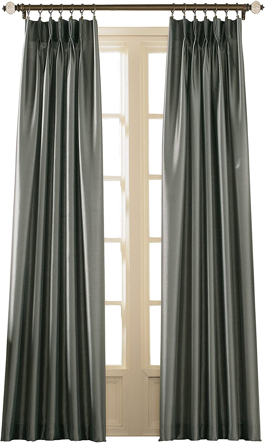 """Curtainworks Marquee Faux Silk Pinch Pleat Curtain Panel, 30 by 144"""", Teal"""