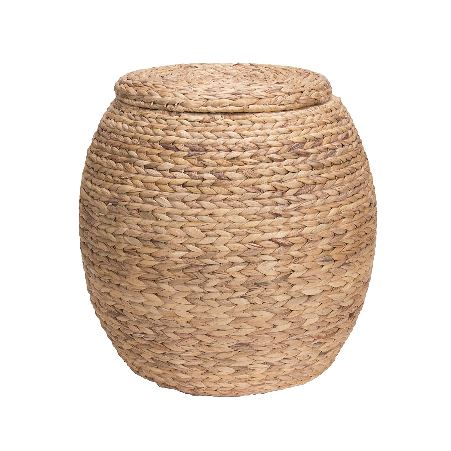 Charmant Amazon.com: Household Essentials ML 4105 Large Round Wicker Storage Basket  Side Table With Lid | Water Hyacinth: Home U0026 Kitchen
