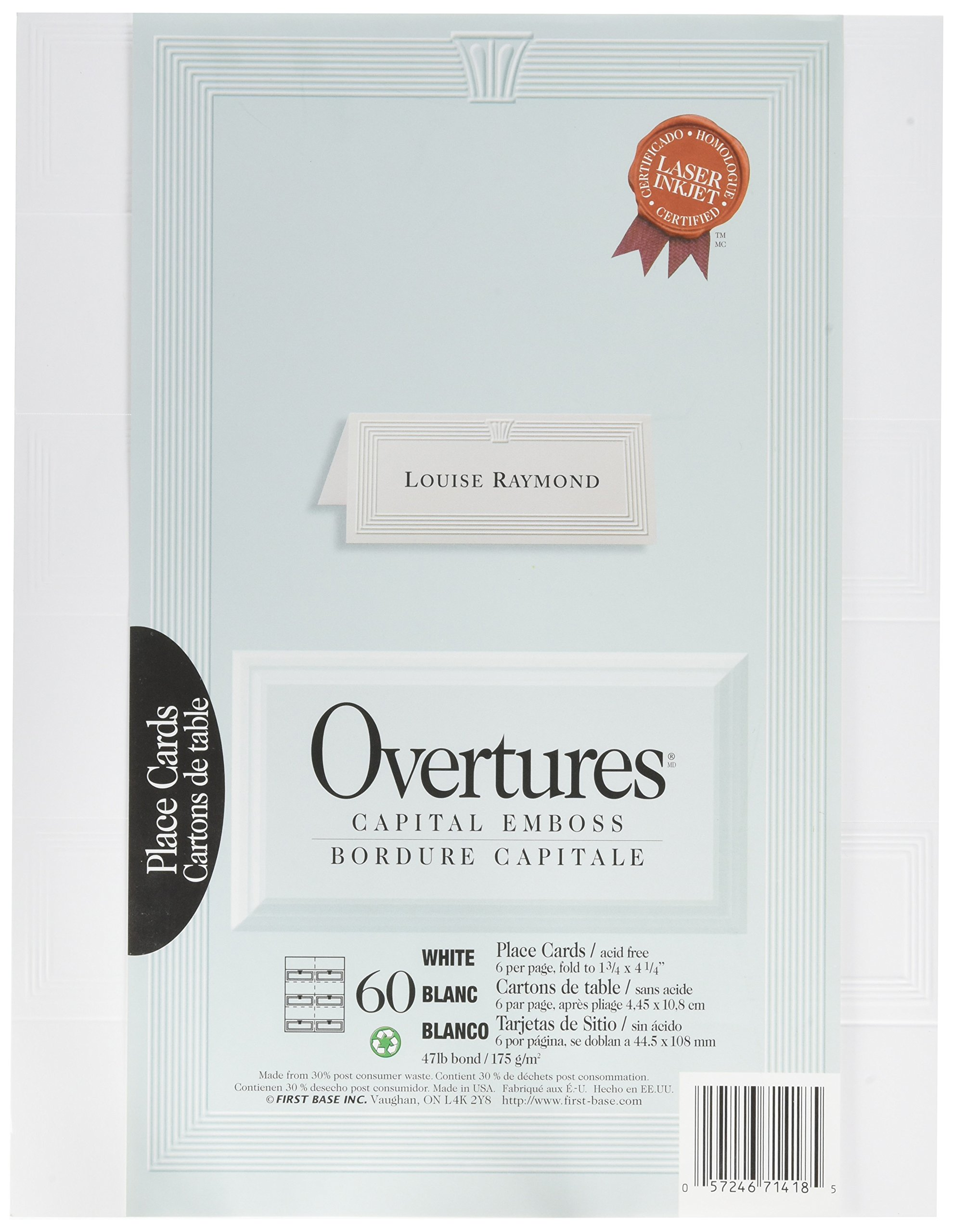 St. James Overtures Capital Emboss White Place Cards, Pack of 60