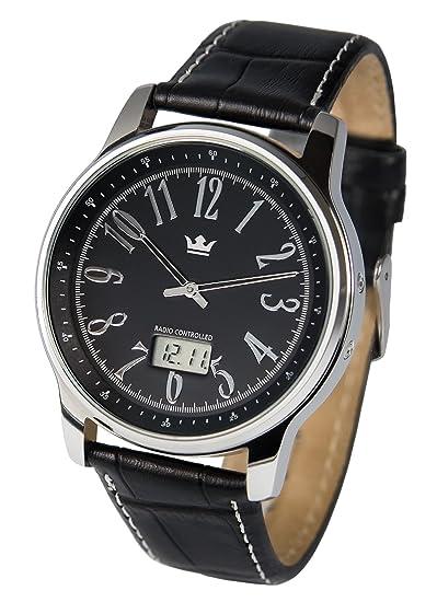 Reloj elegante para hombre, tecnología de radiofrecuencia alemana, correa de piel negra, caja de acero inoxidable 983.4108: Amazon.es: Relojes