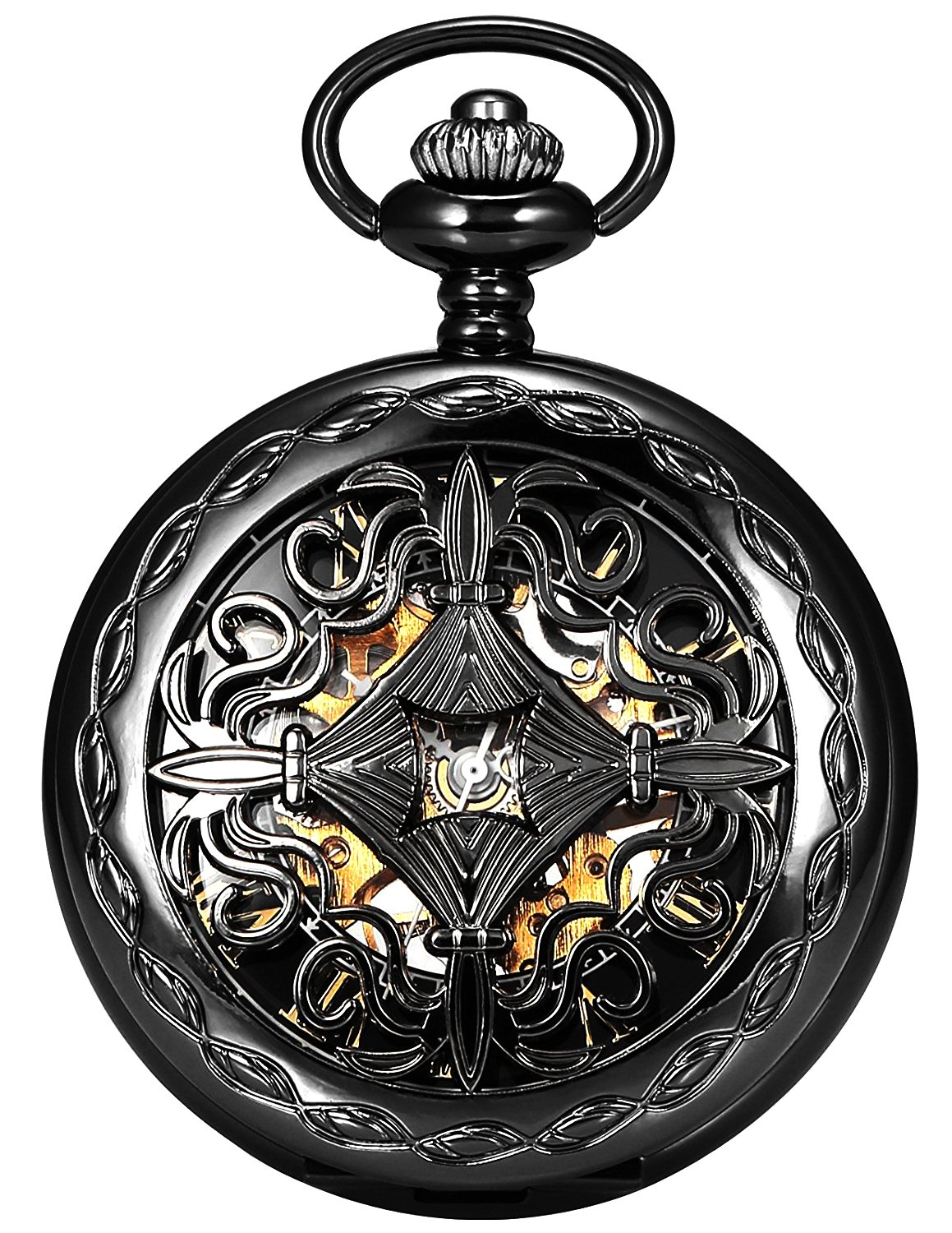 Steampunk Vintage Roman Letters Design Case Mechanical Pocket Watch with Chains for Xmas Gifts 3