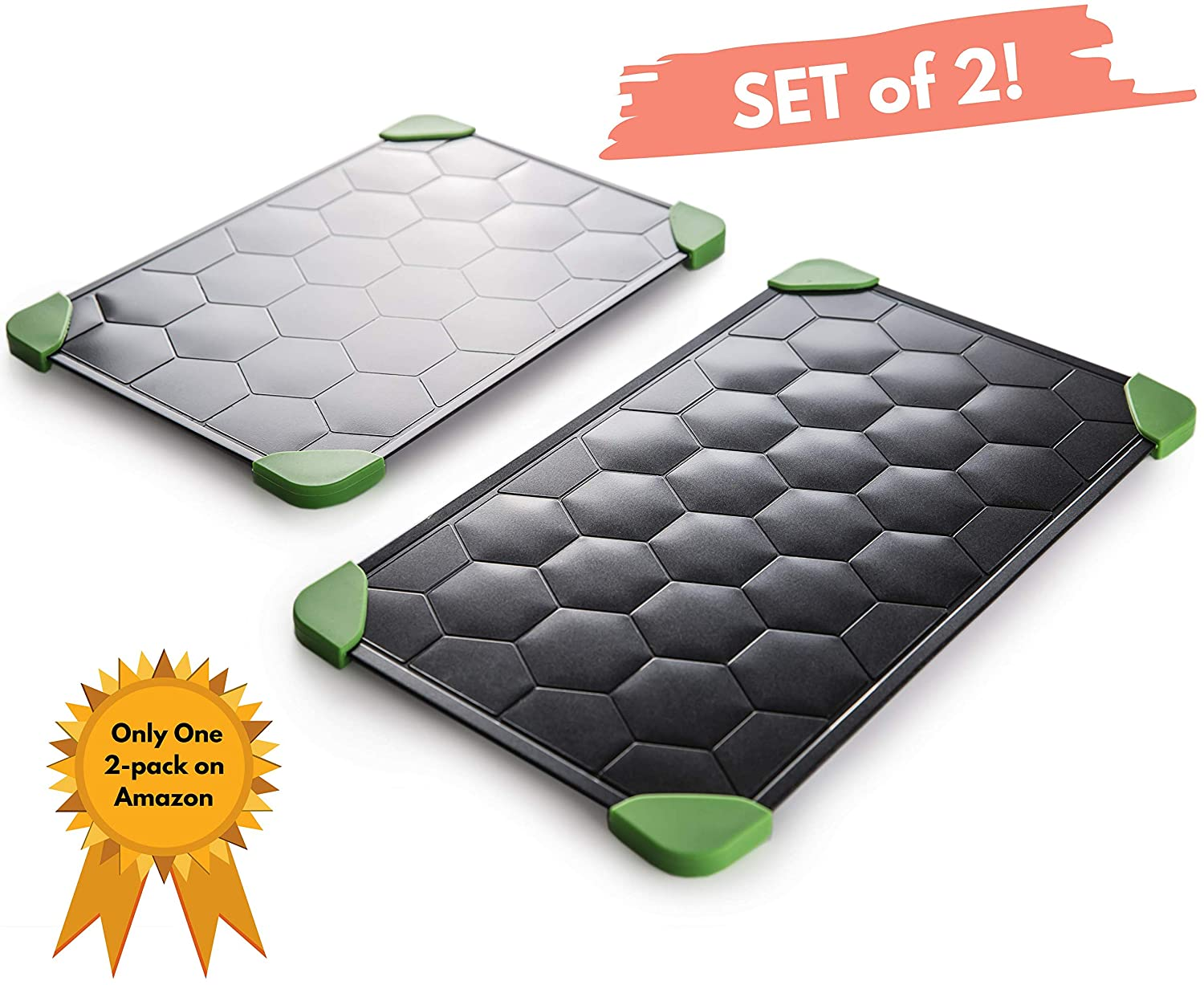 2x Defrosting Tray for Frozen Food (Size L & M) - Super Fast Thawing Tray for Frozen Meat with EXTRA Tongs + Silicon Brush for Cleaning - Eco Friendly Meat Defroster - Thawing Plate with Drip Tray