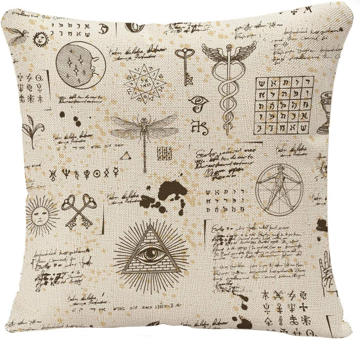 YGGQF Masonic Symbols Throw Pillow Cover Mysticism Magic Religion Occultism Palmistry Moon Sun Vintage Home Decor Decorative Pillowcase for Sofa Car Indoor 18x18 Inches