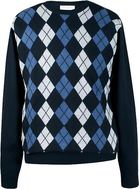 Mens Pure Cashmere Argyle Round Neck Sweater